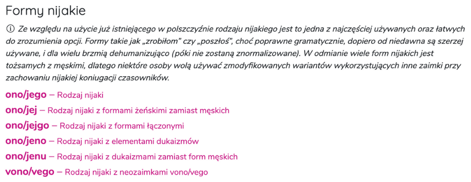 Zrzut ekranu ze strony zaimki.pl prezentuje definicję zaimków nijakich i listę: ono/jego, ono/jej, ono/jejgo, ono/jeno, ono/jenu, vono/vego