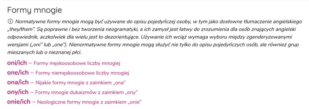 Zrzut ekranu ze strony zaimki.pl prezentuje definicję zaimków nijakich i listę: oni/ich, one/ich, ona/ich, ony/ich, onie/ich